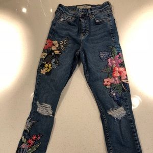 Topshop Jamie moto jeans with embroidery